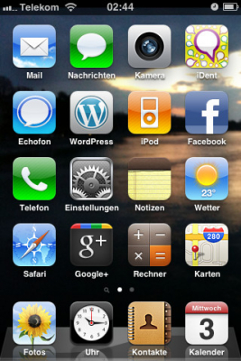 ichphone Screenshot mit Apps