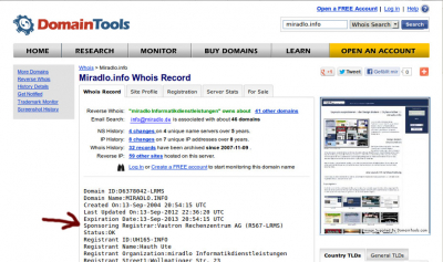 screenshot domaintools whois Sponsoring Registrar miradlo_bloggt
