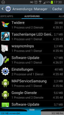 Screenshot samsung galaxy s3 Anwendungsmanager