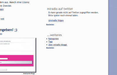 twitter in s9y : miradlo bloggt Screenshot