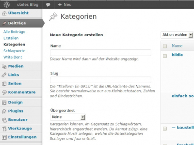 WordPress-Admin Kategorien
