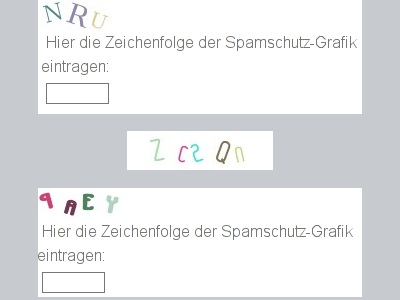 Screenshot bildbasierter Captchas