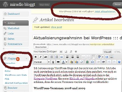 WordPress Versions- und Pluginupdates